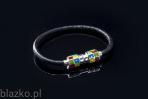 Chessboard Colour Cubes Leather Bracelet